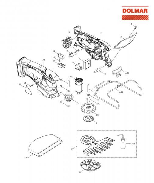 Ersatzteile für DOLMAR AY-1820 Akku-Grasschere