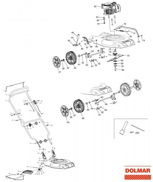 Ersatzteile für DOLMAR PM-4810 Benzin-Rasenmäher