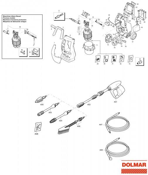 Ersatzteile für DOLMAR HP-350 Hochdruckreiniger