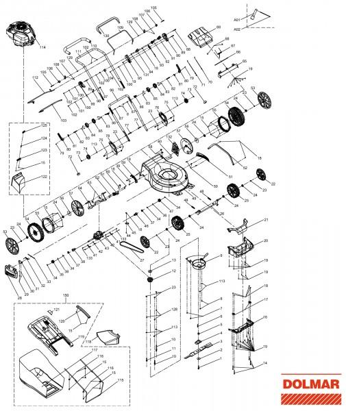 Ersatzteile für DOLMAR PM-5102 S3 Benzin-Rasenmäher