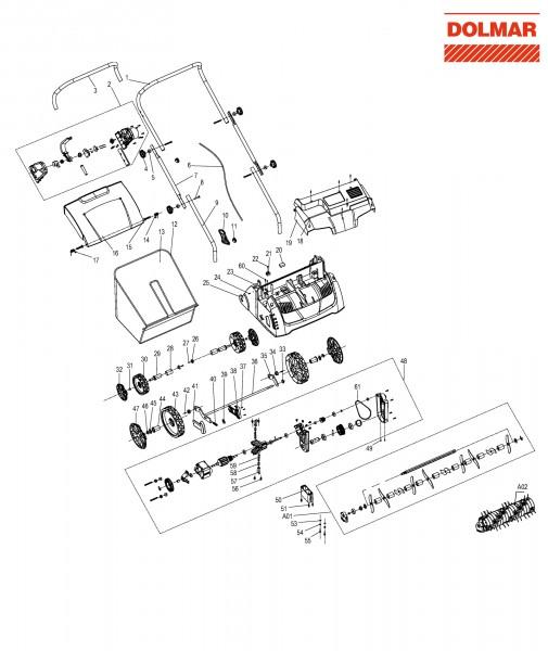 Ersatzteile für DOLMAR EV-3213 Elektro-Vertikutierer
