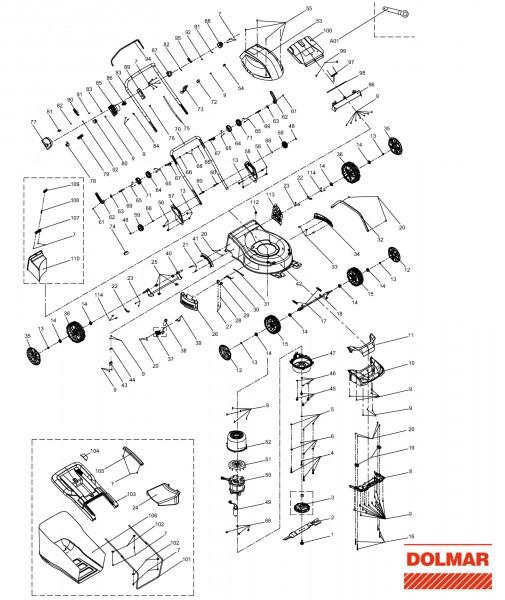 Ersatzteile für DOLMAR EM-461 Elektro-Rasenmäher