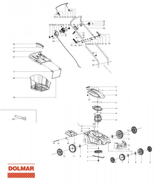 Ersatzteile für DOLMAR EM-370 Elektro-Rasenmäher