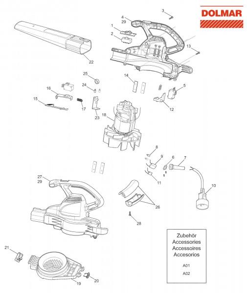 Ersatzteile für DOLMAR EB-165 V Elektro-Blasgerät