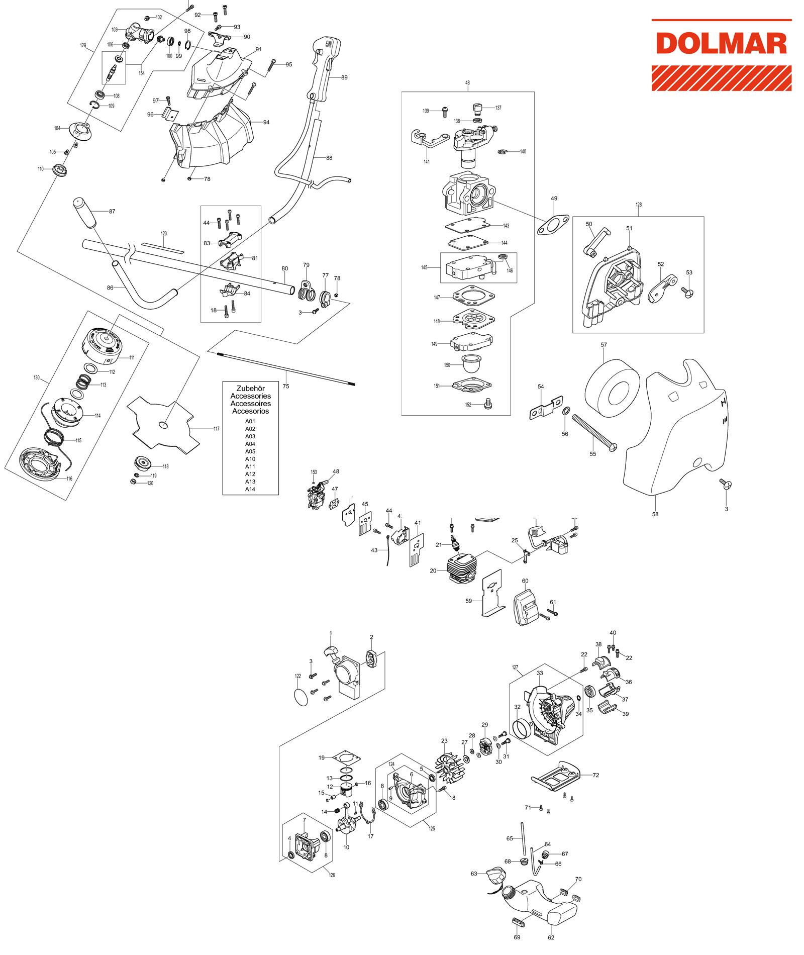ersatzteile f r dolmar ms 27 u motorsense benzin motorsensen trimmer ersatzteile. Black Bedroom Furniture Sets. Home Design Ideas