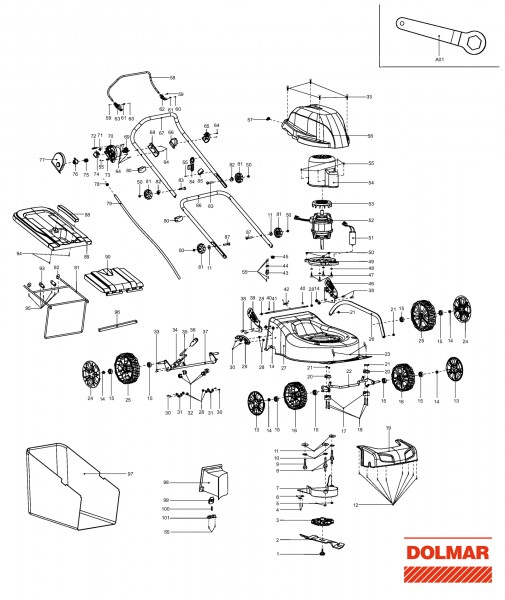 Ersatzteile für DOLMAR EM-460 (2009-2011) Elektro-Rasenmäher