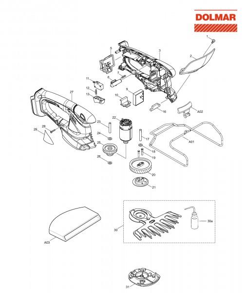 Ersatzteile für DOLMAR AX-1821 H Akku-Grasschere