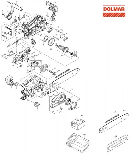Ersatzteile für DOLMAR AS-3731 Akku-Motorsägen