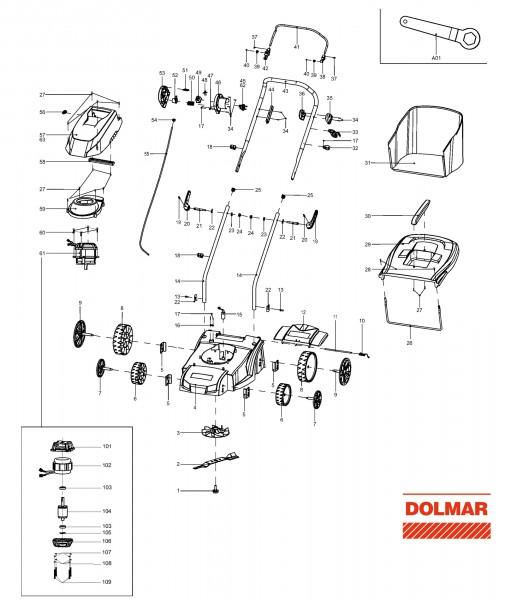 Ersatzteile für DOLMAR EM-33 Elektro-Rasenmäher