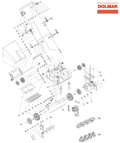 Ersatzteile für DOLMAR EV-3618 Elektro-Vertikutierer