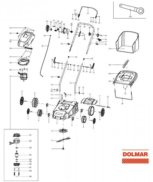 Ersatzteile für DOLMAR EM-37 Elektro-Rasenmäher