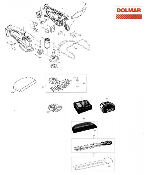 Ersatzteile für DOLMAR AY-1821 LGH Akku-Grasschere